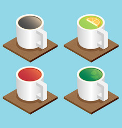 Set of the isometric mugs vector