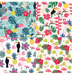 set seamless decorative pattern with flamingo vector image