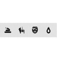 Set snake pinata aztec mask and avocado icon vector