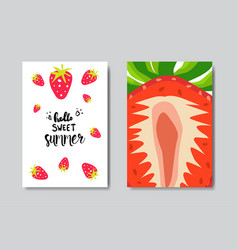 set sweet summer strawberry badge isolated vector image