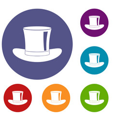 Silk hat icons set vector