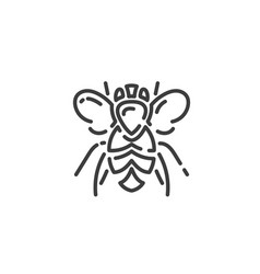 simple line art icon bee pictograph design vector image