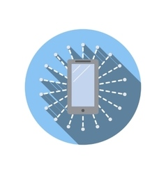 Smartphone surrounded by computer network icon vector