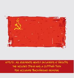 Soviet union flag flat - artistic brush strokes vector