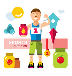 Sports nutrition energy diet concept flat vector