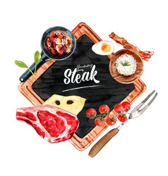 Steak wreath design with rice meat tomato vector