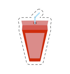 Strawberry juice box with straw cut line vector