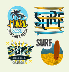 surfing style surf summer time beach life hand vector image