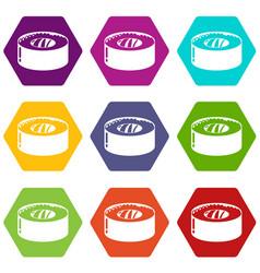 sushi fish icons set 9 vector image