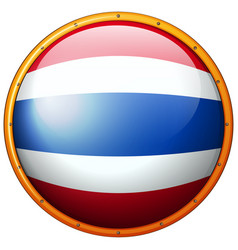 thailand flag on round button vector image
