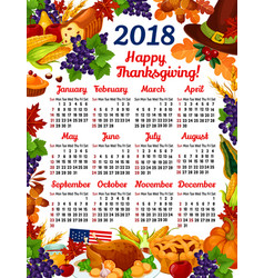 Thanksgiving day calendar 2018 vector