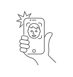 The hand hold smartphone and doing selfie vector