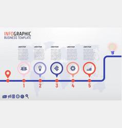 timeline infographics template design 5 steps vector image