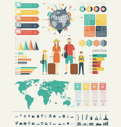 Travel and tourism infographic set with charts vector