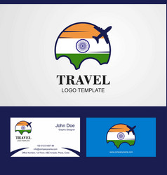 Travel india flag logo and visiting card design vector