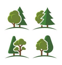 trees group logo set on white background vector image