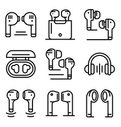 Wireless earbuds icons set outline style vector