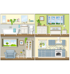 With four classic residential interiors vector