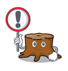 with sign tree stump character cartoon vector image
