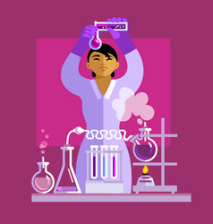 Woman scientist working in the laboratory vector