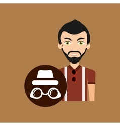 Young hipster man sunglasses trendy hat vector