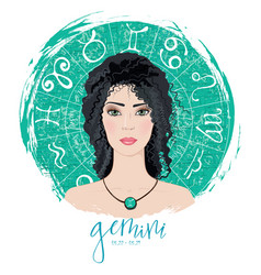 Zodiac signs gemini in image of beauty girl vector