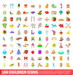 100 children icons set cartoon style vector image vector image