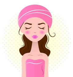 Beautiful spa woman isolated on white - pink vector image vector image