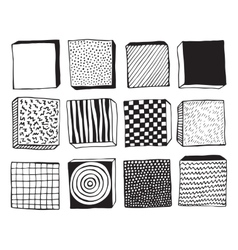 Hand drawn blocks with different textures vector image