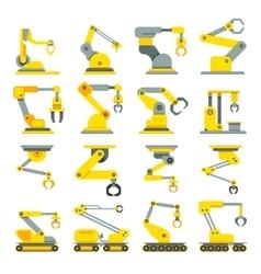 Robotic arm hand industrial robot flat vector image