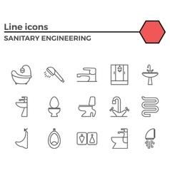 Sanitary engineering flat icon set vector image