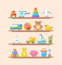 Set of Colorful Children Toys on Shelf Cartoon vector image