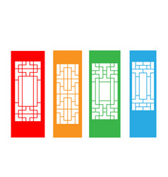 set of korean door isolated on white vector image vector image