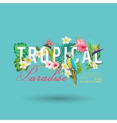 Tropical Bird and Flowers Graphic Design vector image
