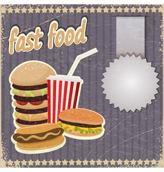 Vintage background with the image of fast food vector image vector image