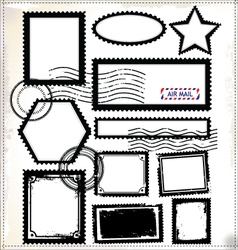 Vintage post stamps template vector image