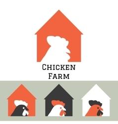Chicken farm house logo concept vector image