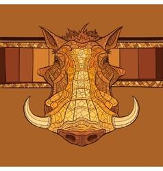 Decorative warthog head vector image vector image