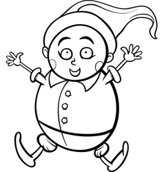 gnome or dwarf cartoon coloring page vector image