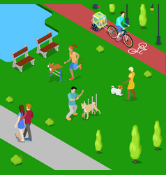 Isometric people training dogs in the city park vector