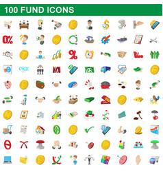 100 fund icons set cartoon style vector image