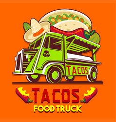 Food truck taco mexican fast delivery service logo vector