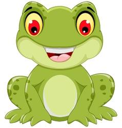 Funny frog cartoon sitting vector