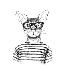 Hand drawn dressed up hipster cat vector image vector image