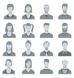Man and woman face portrait silhouettes vector