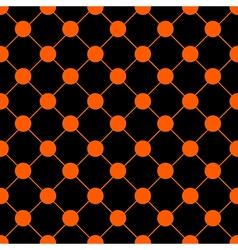 Orange Polka dot Chess Board Grid Black vector image