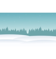 Silhouette of spruce and hill at winter vector image vector image