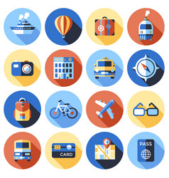 digital blue red travel icons vector image
