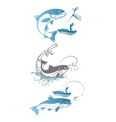 fishing trout vector image
