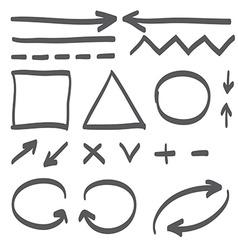 Hand drawn arrows set icon vector image vector image